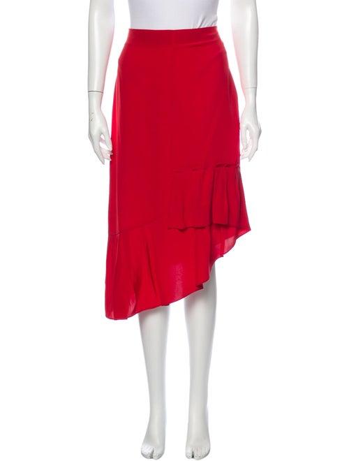 Tibi Silk Midi Length Skirt Red