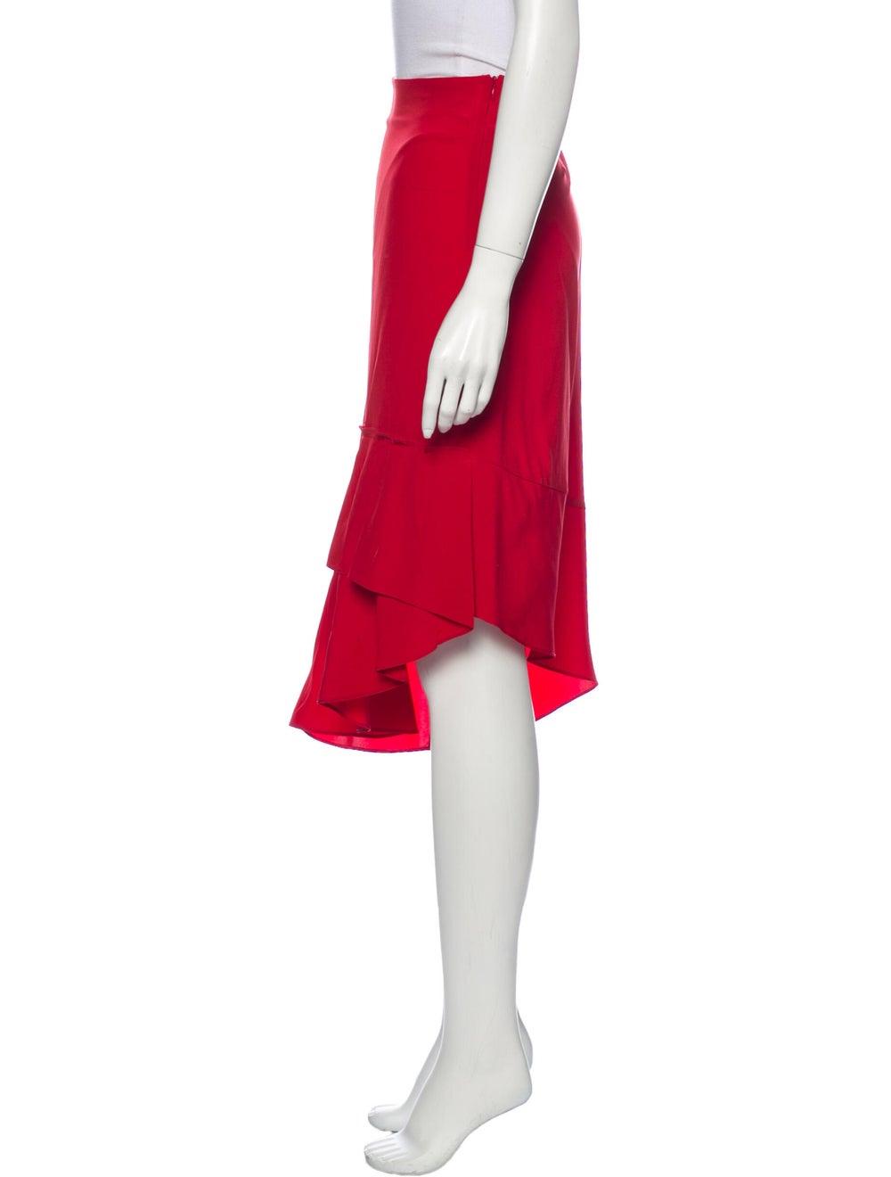 Tibi Silk Midi Length Skirt Red - image 2