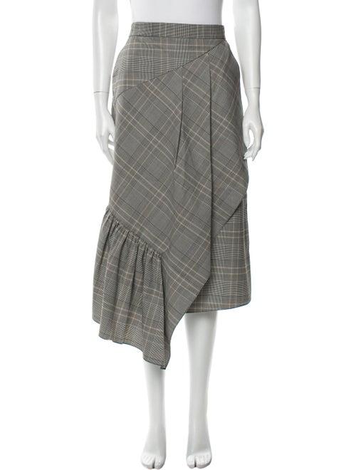 Tibi Plaid Print Midi Length Skirt Grey