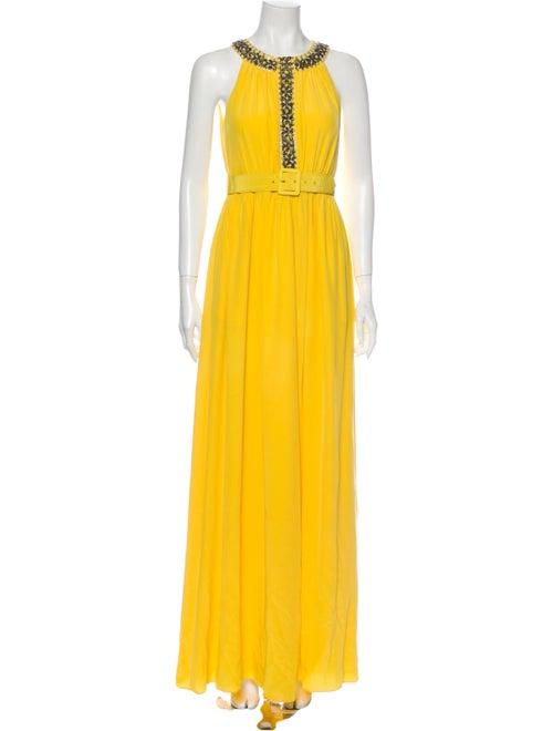Tibi Halterneck Long Dress Yellow