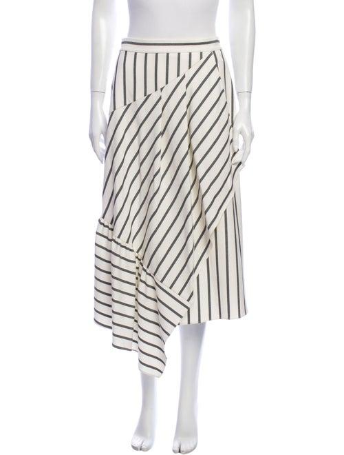 Tibi Striped Midi Length Skirt White