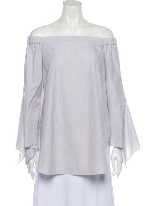 Tibi Striped Off-The-Shoulder Blouse White