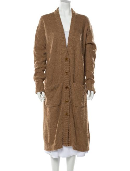 Tibi Alpaca V-Neck Sweater Brown