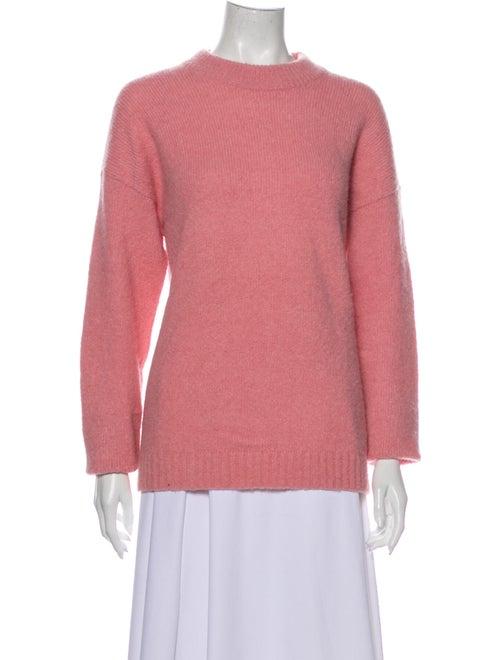 Tibi Alpaca Crew Neck Sweater Pink