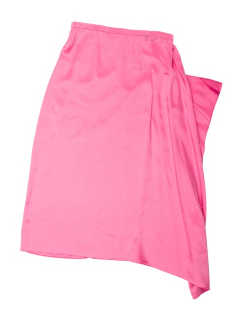 Tibi Silk Midi Length Skirt Pink