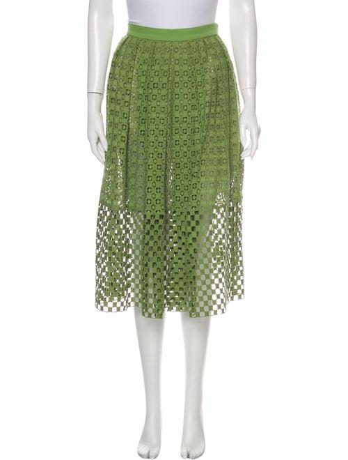 Tibi Lace Pattern Midi Length Skirt Green