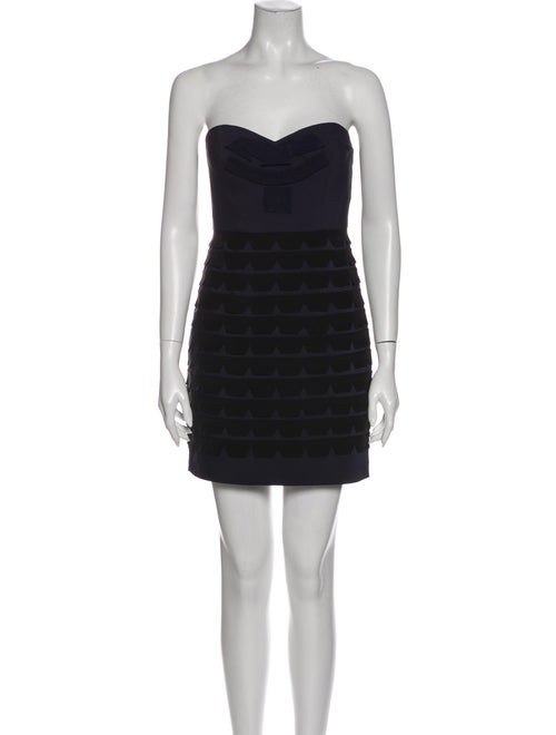 Tibi Strapless Mini Dress Blue