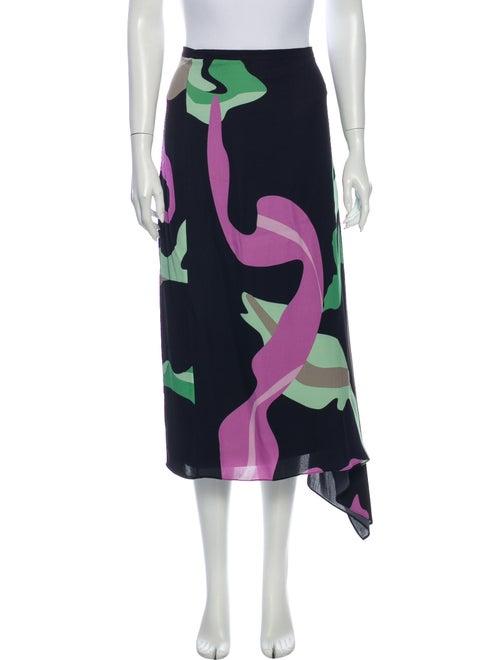 Tibi Printed Midi Length Skirt Blue
