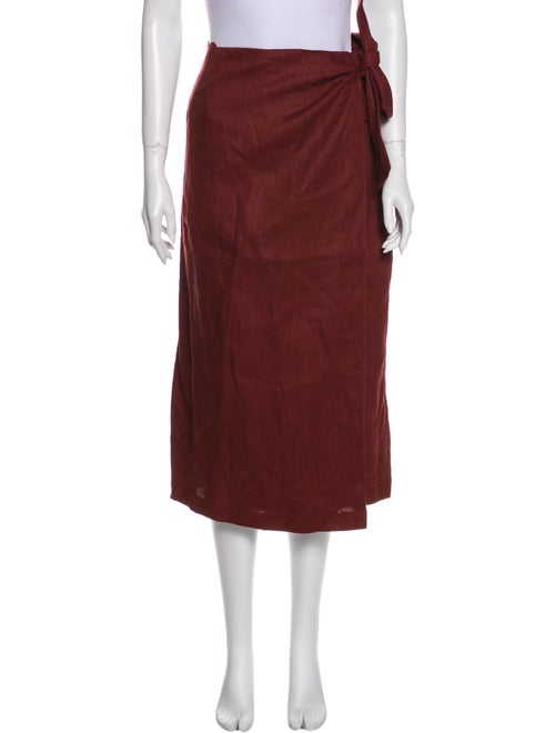 Tibi Linen Midi Length Skirt w/ Tags Red