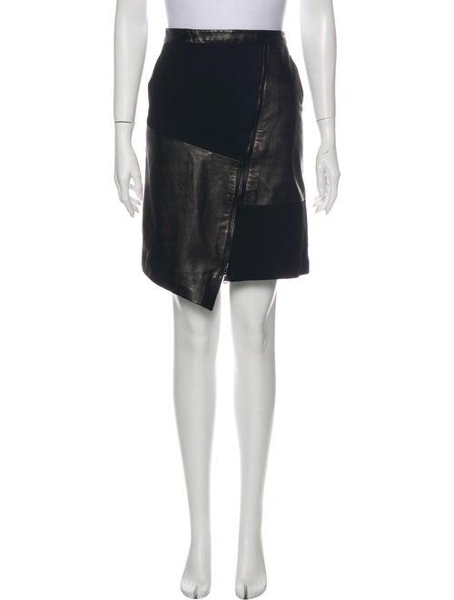 Tibi Leather Knee-Length Skirt Black