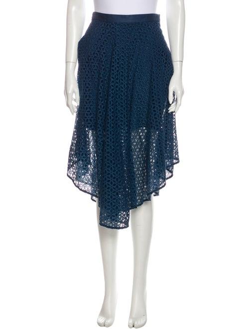 Tibi Lace Pattern Midi Length Skirt Blue - image 1