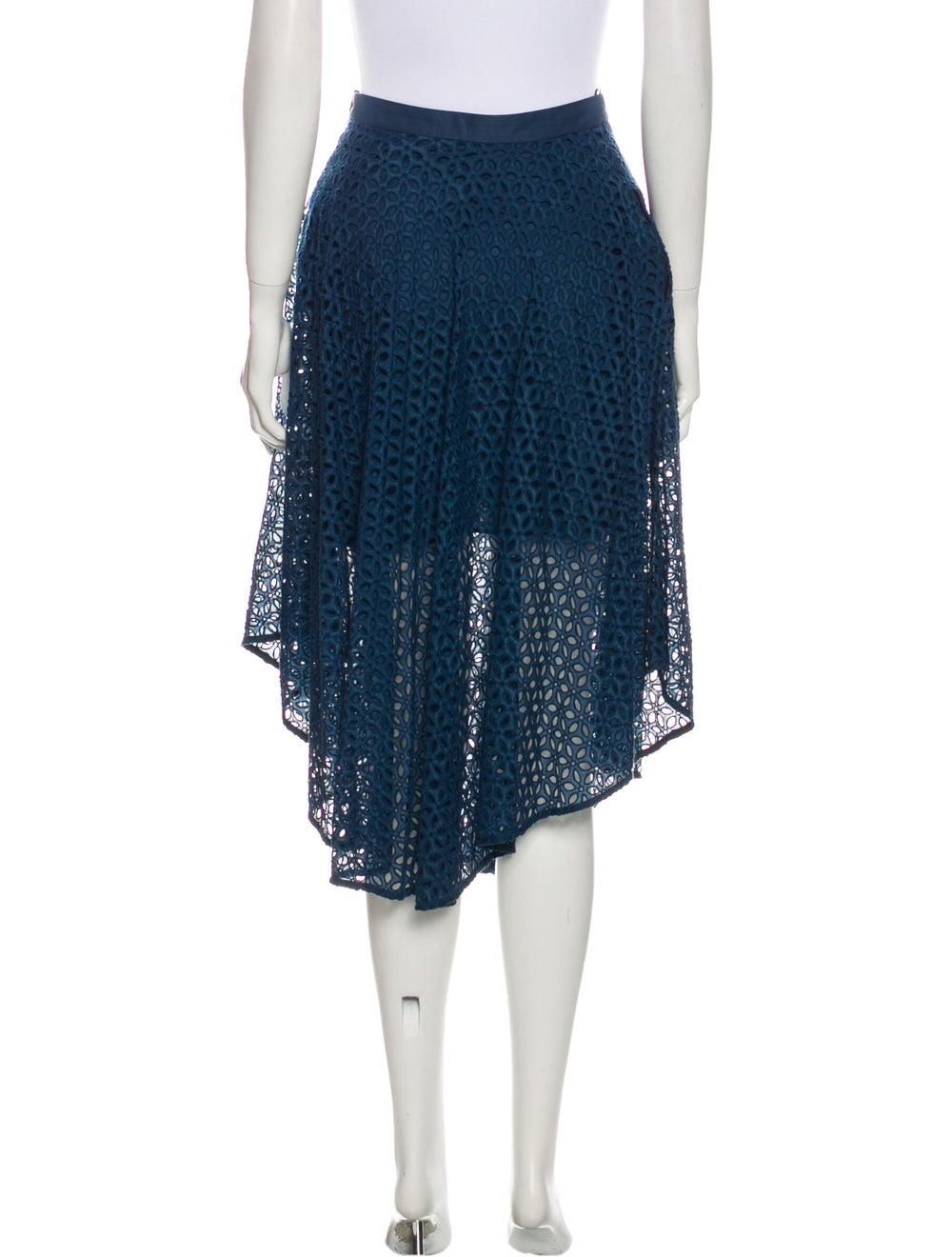 Tibi Lace Pattern Midi Length Skirt Blue - image 3
