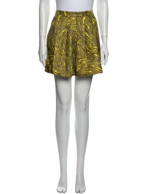 Tibi Printed Mini Skirt Green