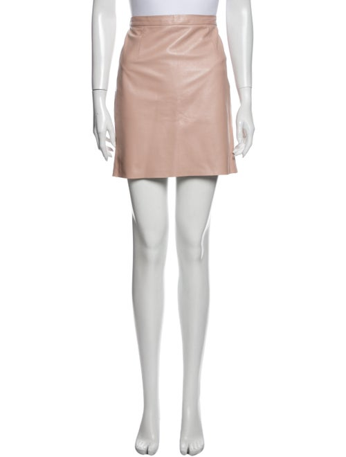 Tibi Leather Mini Skirt Pink