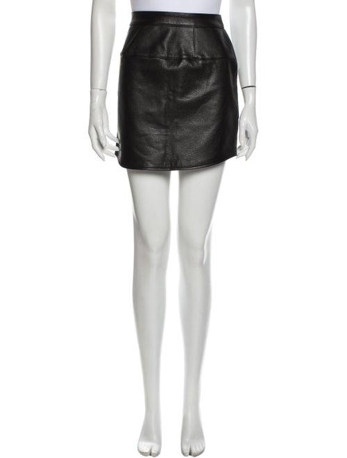 Tibi Leather Mini Skirt Black