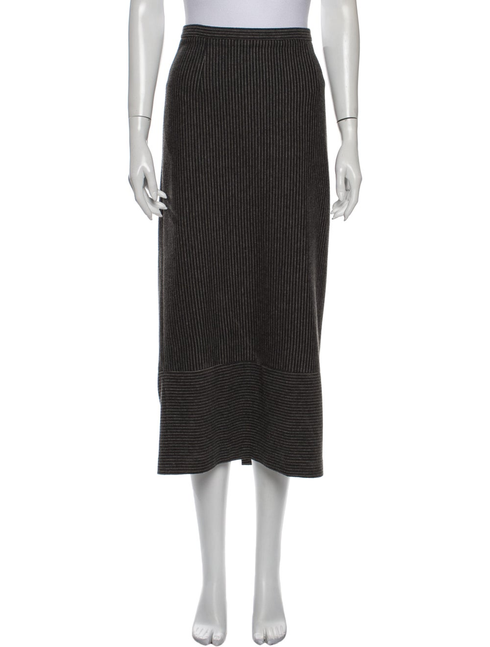 Tibi Striped Midi Length Skirt Grey - image 1