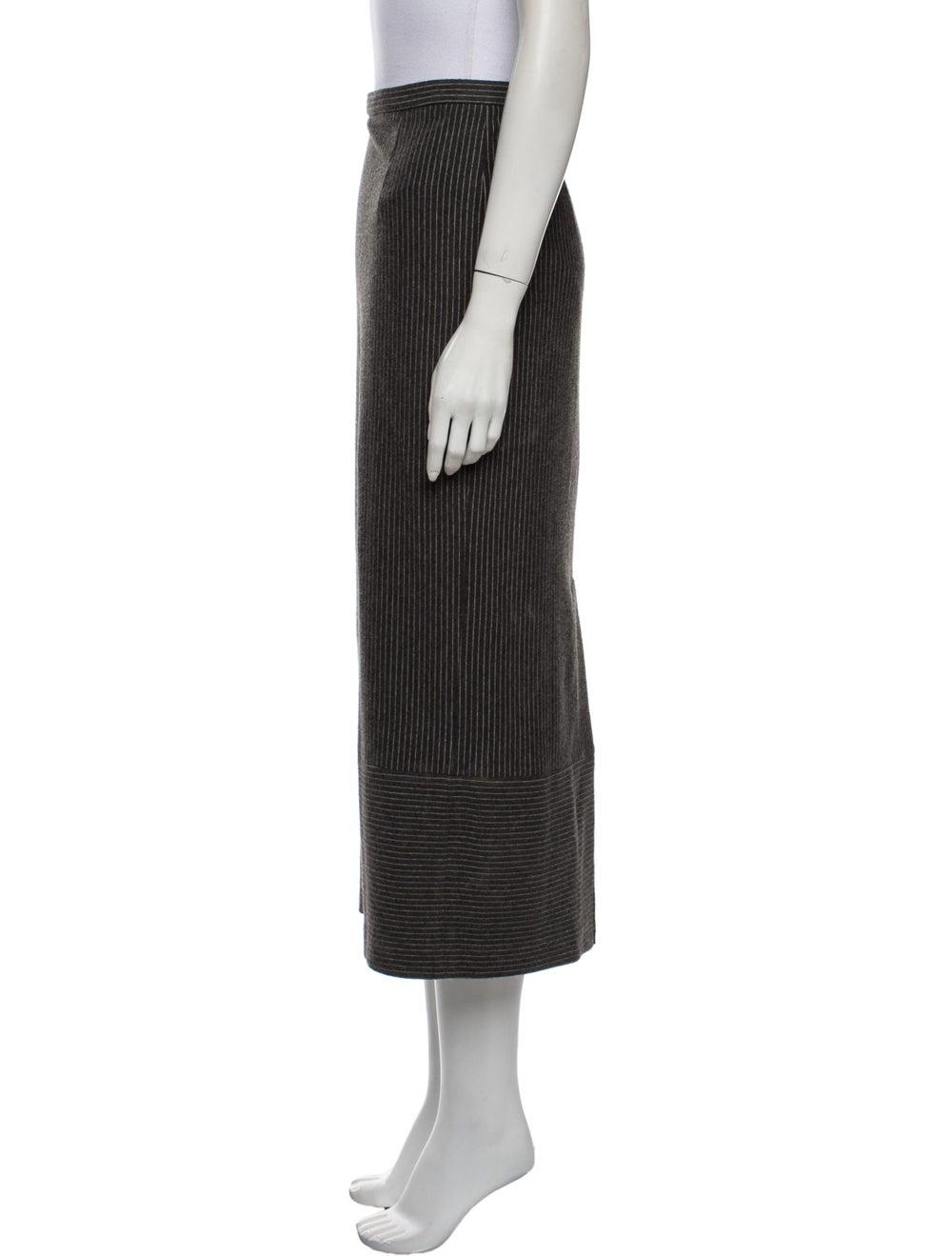 Tibi Striped Midi Length Skirt Grey - image 2