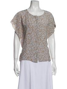 Tibi Silk Floral Print Blouse