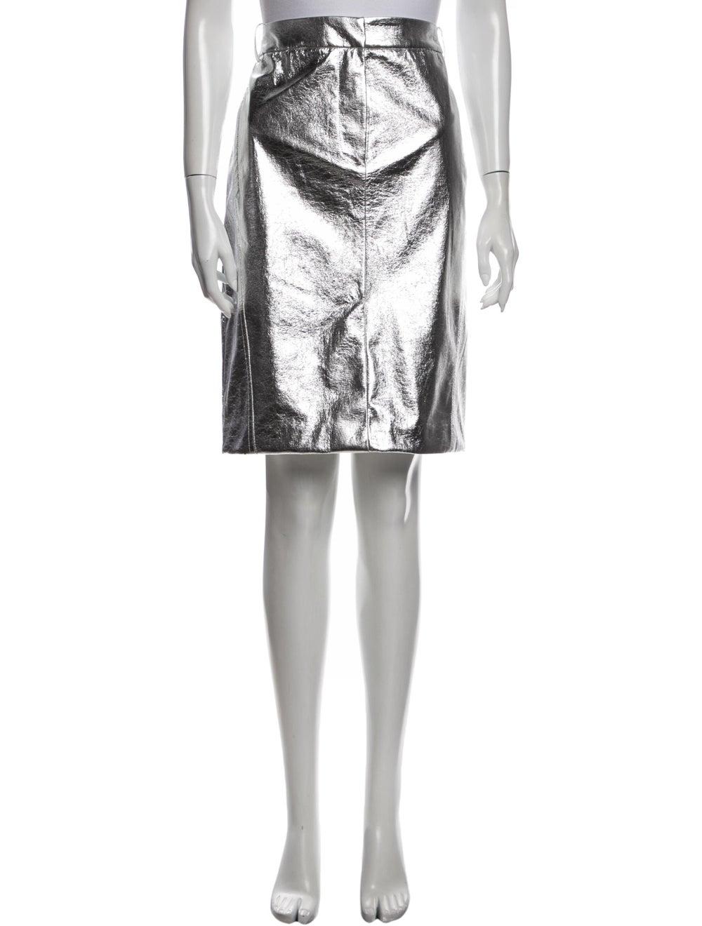 Tibi Knee-Length Skirt Silver - image 1