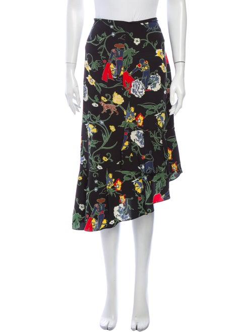 Tibi Silk Midi Length Skirt Black