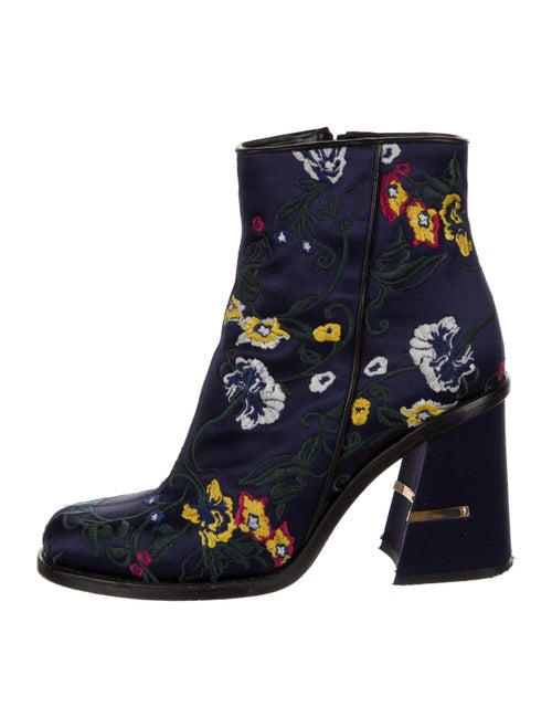 Tibi Floral Print Embroidered Accent Boots Blue