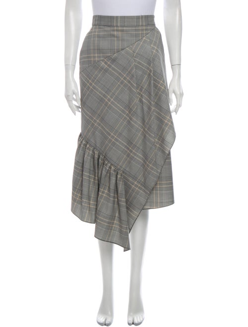 Tibi Plaid Print Midi Length Skirt - image 1