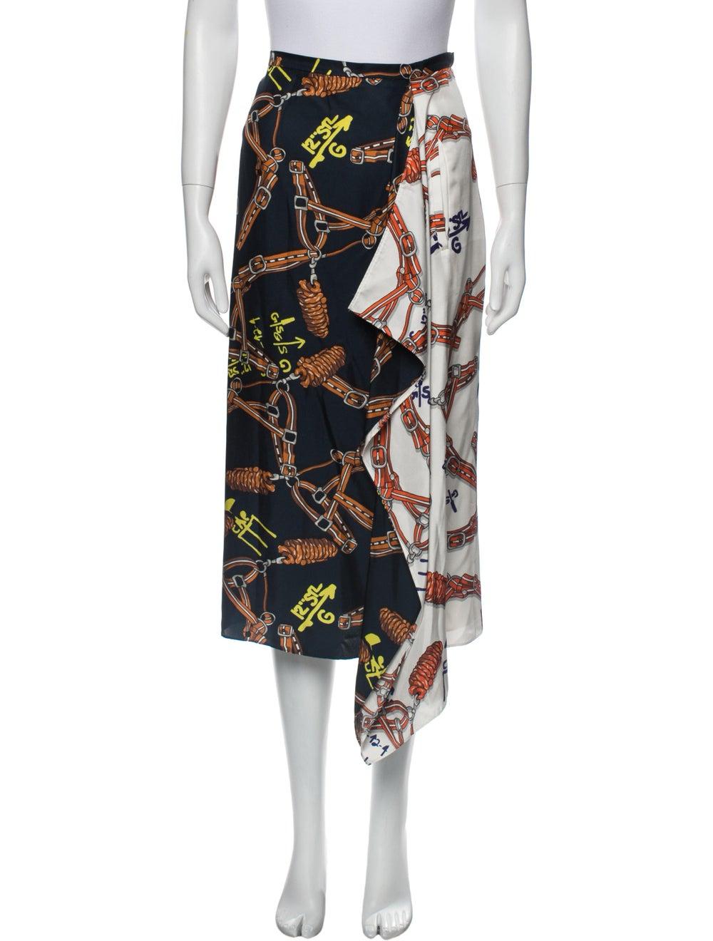 Tibi Silk Midi Length Skirt Blue - image 1