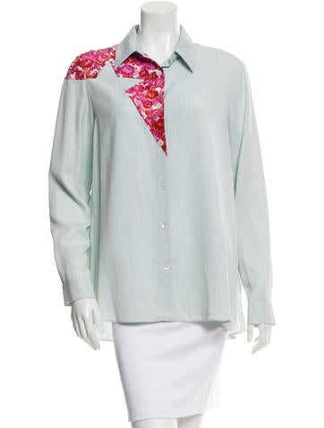 Thakoon Addition Printed Long Sleeve Button-Up Top None
