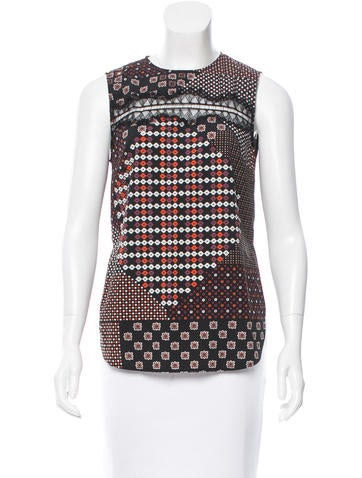 Thakoon Addition Printed Lace-Trimmed Top