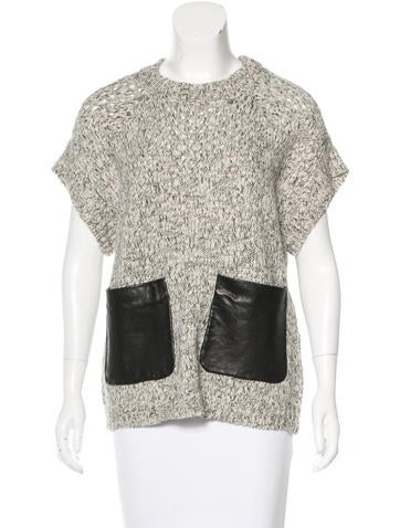 Thakoon Addition Leather-Accented Short Sleeve Sweater None