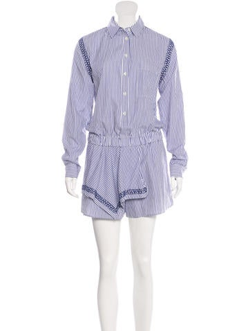 Thakoon Addition Long Sleeve Striped Romper None