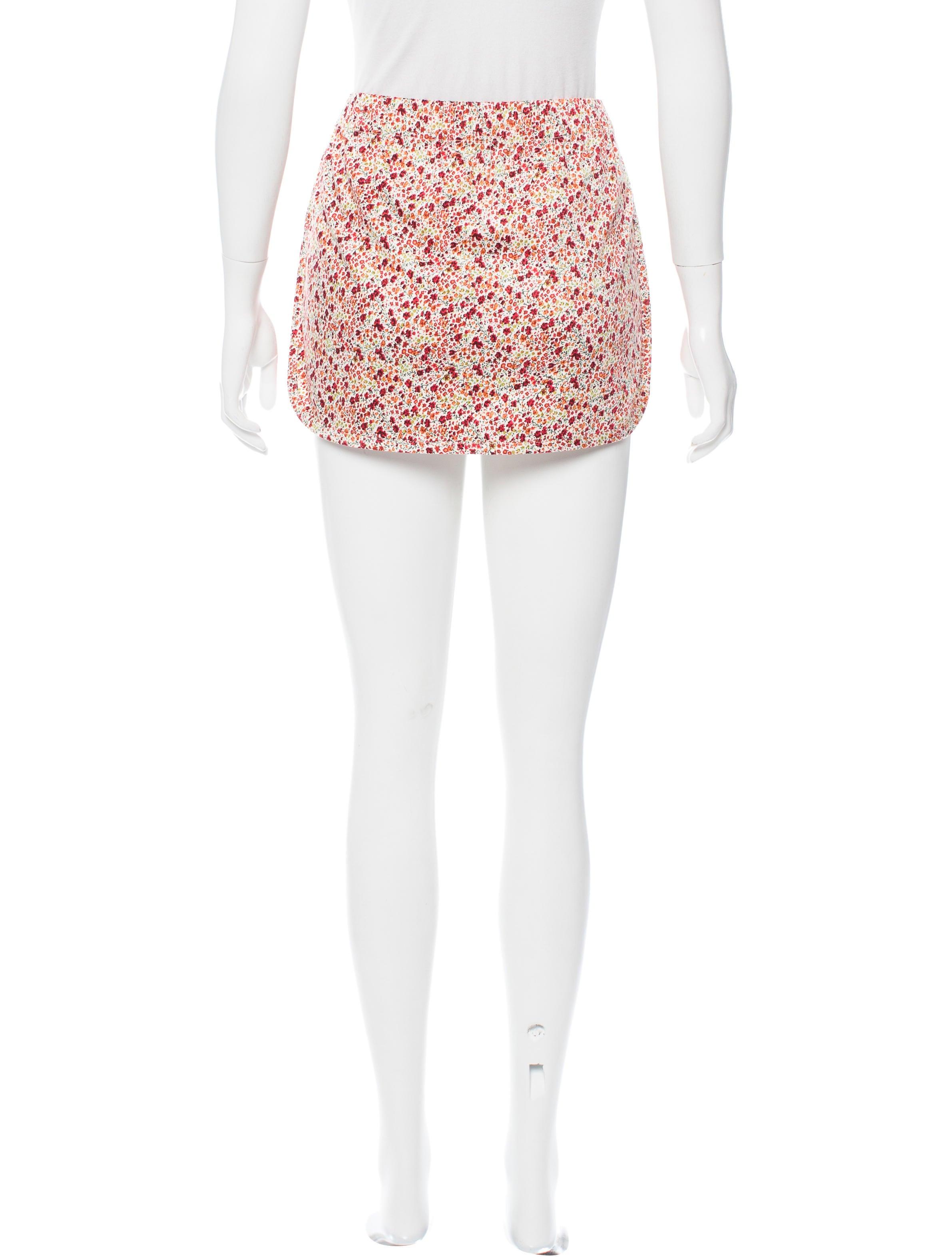 Floral Print Mini Skirt 36