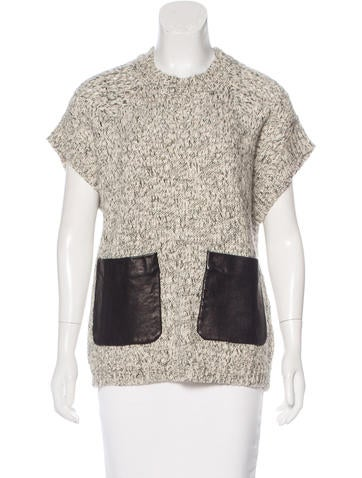 Thakoon Addition Leather-Accented Knit Top None