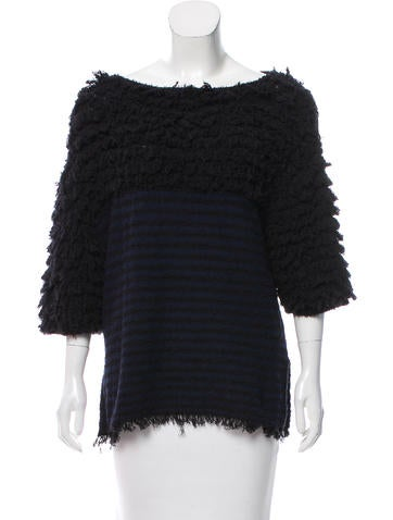 Thakoon Addition Textured Striped Knit Top None
