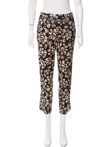 Thakoon Addition Printed Silk-Blend Mid-Rise Pants w/ Tags None