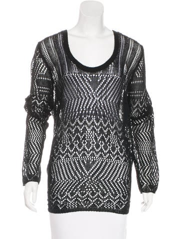Thakoon Addition Long Sleeve Open-Knit Sweater None