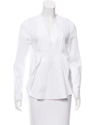 Thakoon Addition V-Neck Long Sleeve Top None