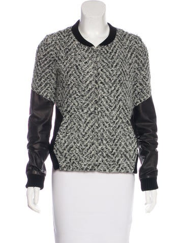 Thakoon Addition Leather-Accented Zip-Up Jacket None