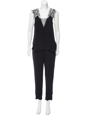 Thakoon Addition Lace-Paneled High-Rise Jumpsuit None