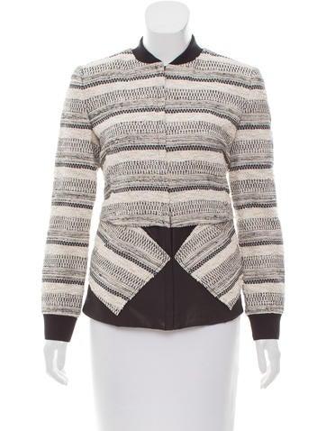 Thakoon Addition Leather Paneled Tweed Jacket None