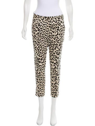 Thakoon Addition Leopard Mid-Rise Straightst Pants None