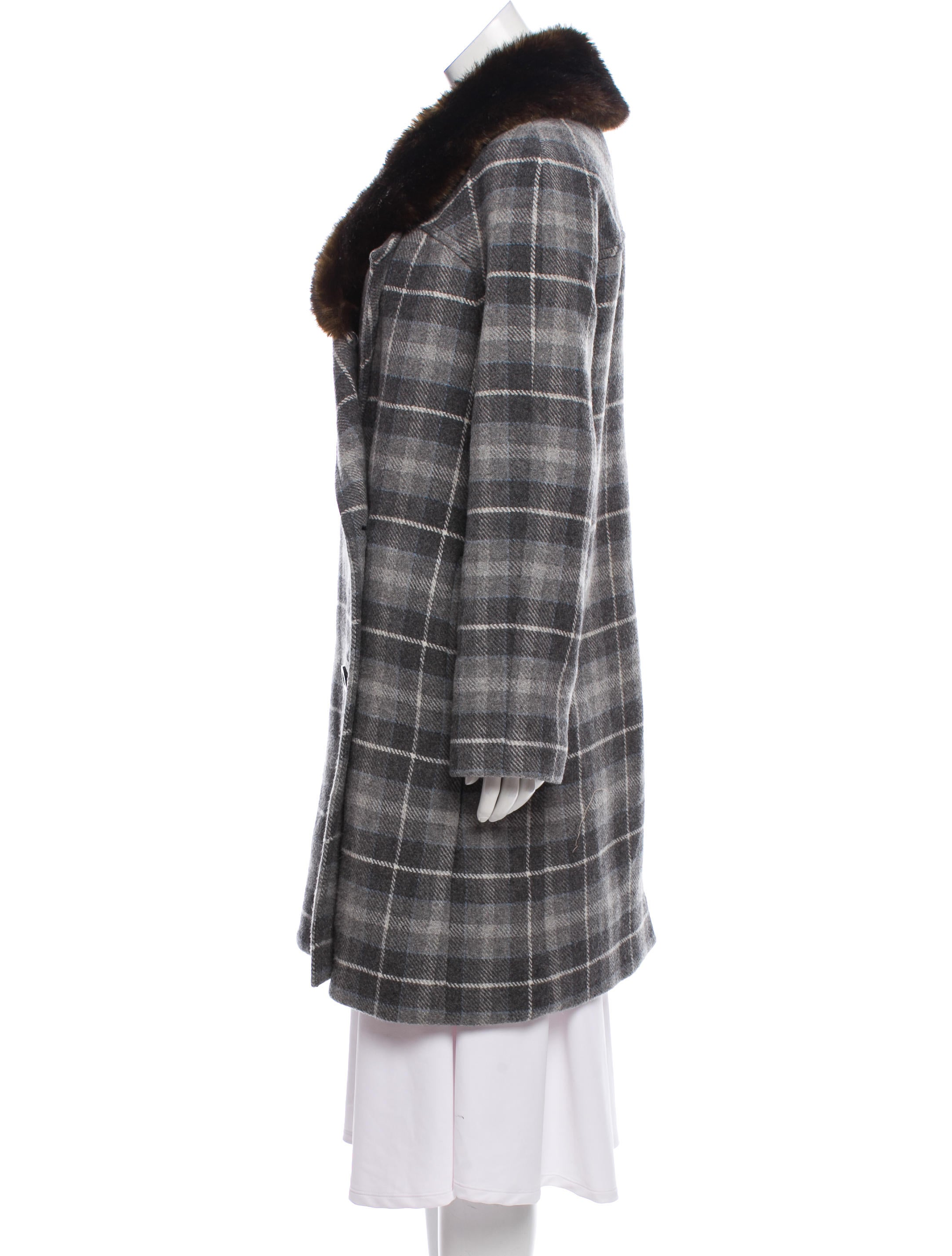 Cheap Sale Pre Order Fashion Style For Sale Thakoon Addition Wool Fur-Trim Knee-Length Coat tc6r9sXl
