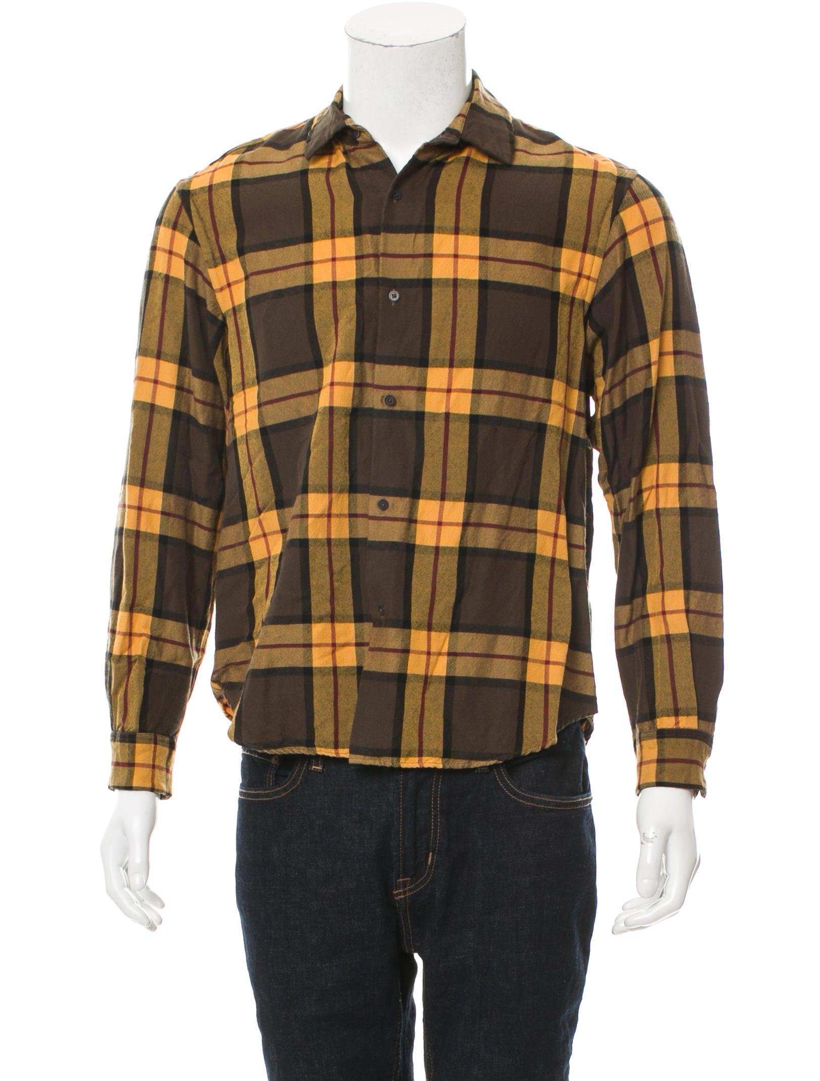 Tomorrowland plaid flannel shirt clothing wtmmw20134 for Mens yellow plaid flannel shirt