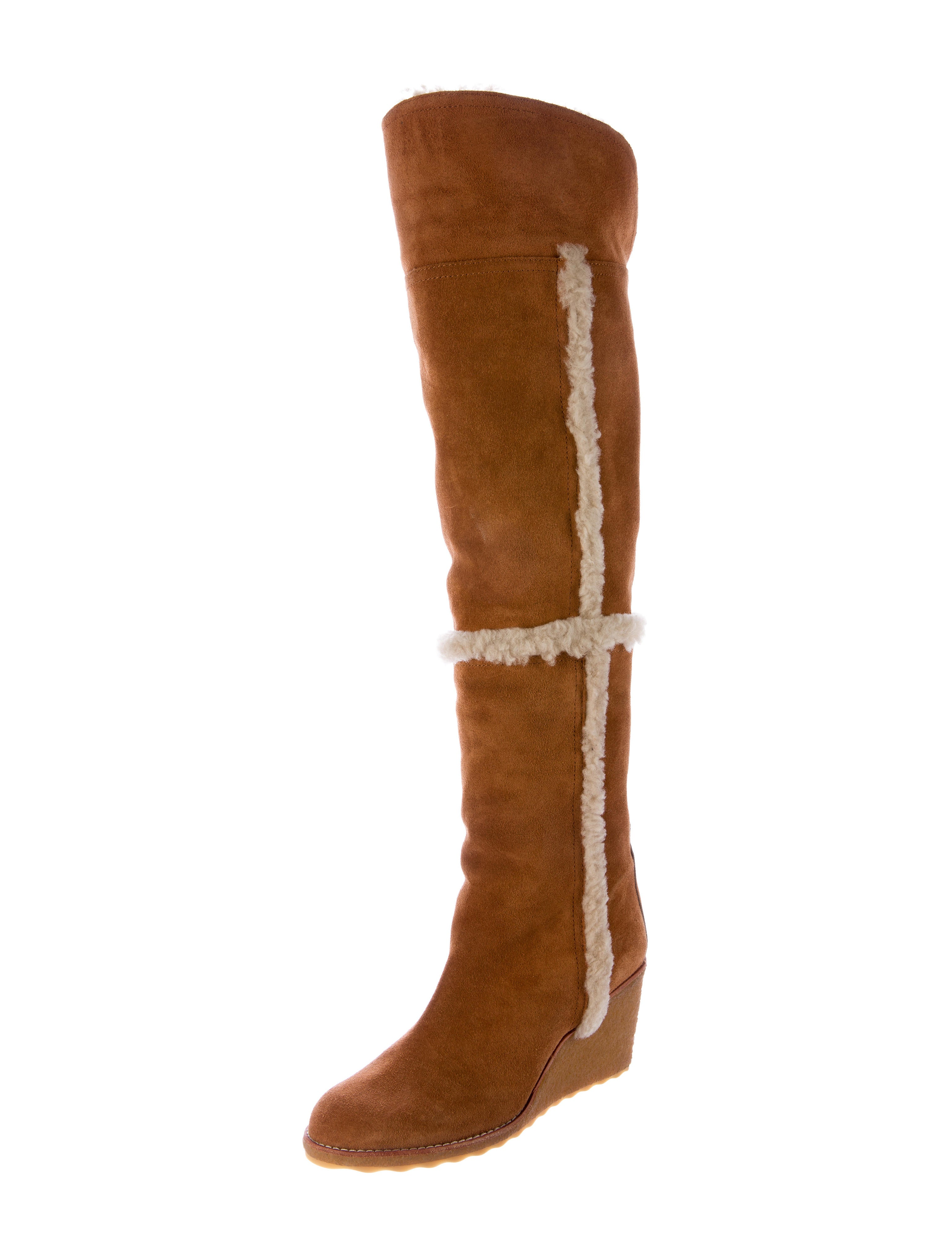 burch suede the knee wedge boots shoes