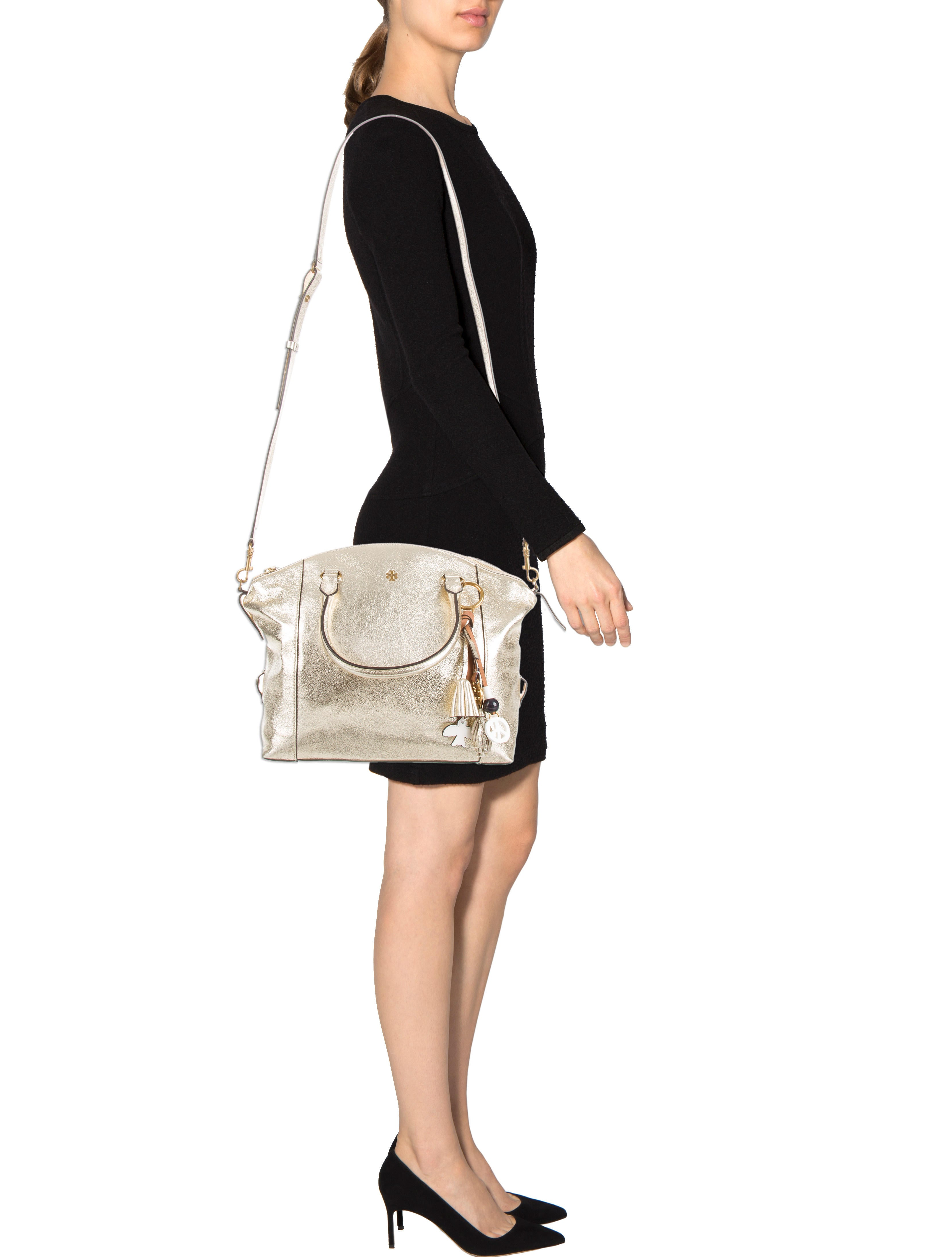 Tory Burch Metallic Peace Satchel Handbags WTO100678  : WTO1006782enlarged from www.therealreal.com size 3316 x 4376 jpeg 453kB