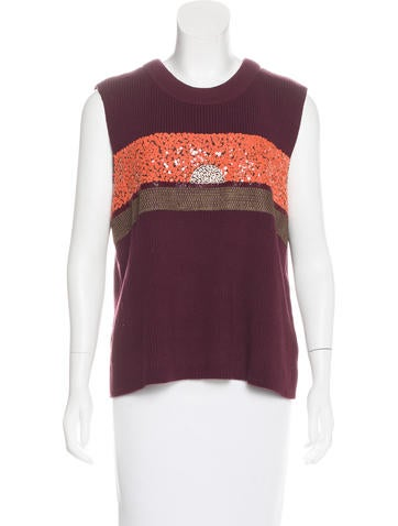 Tory Burch Knit Embellished Top None