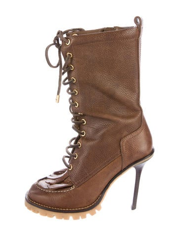 Tory Burch Lace-Up Mid-Calf Boots None