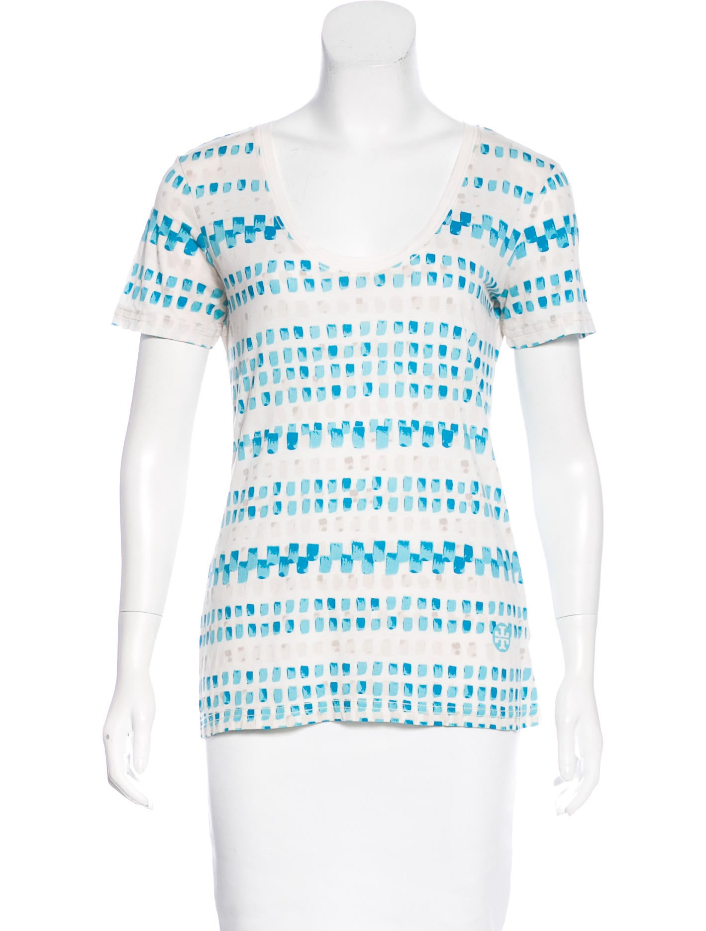 Tory burch printed scoop neck t shirt clothing for Tory burch t shirt