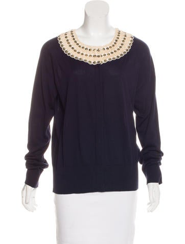 Tory Burch Embellished Long Sleeve Cardigan None