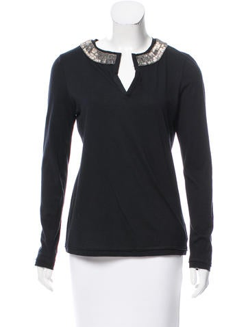 Tory Burch Embellished Long Sleeve Top None